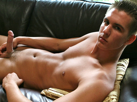 All-American college boy Blake jacks off.